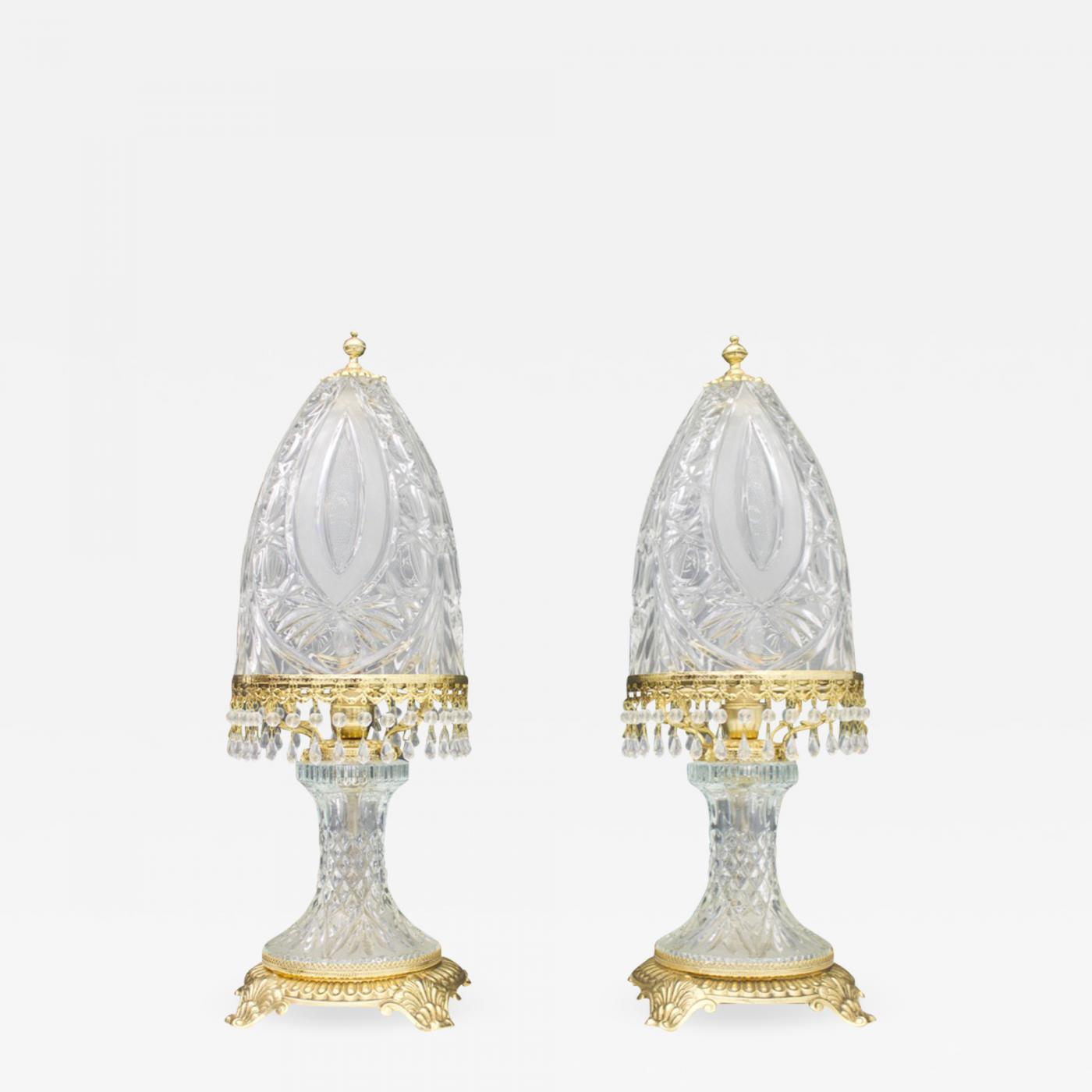Baccarat Rare Pair Of Crystal Glass Table Lamps By Valery Klein For Baccarat France 1960s