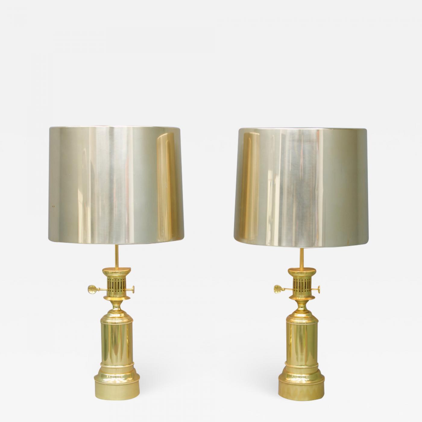 Vereinigte Werkstatten Pair Of Large Brass Table Lamps By Vereinigte Werkstatten Germany 1960s