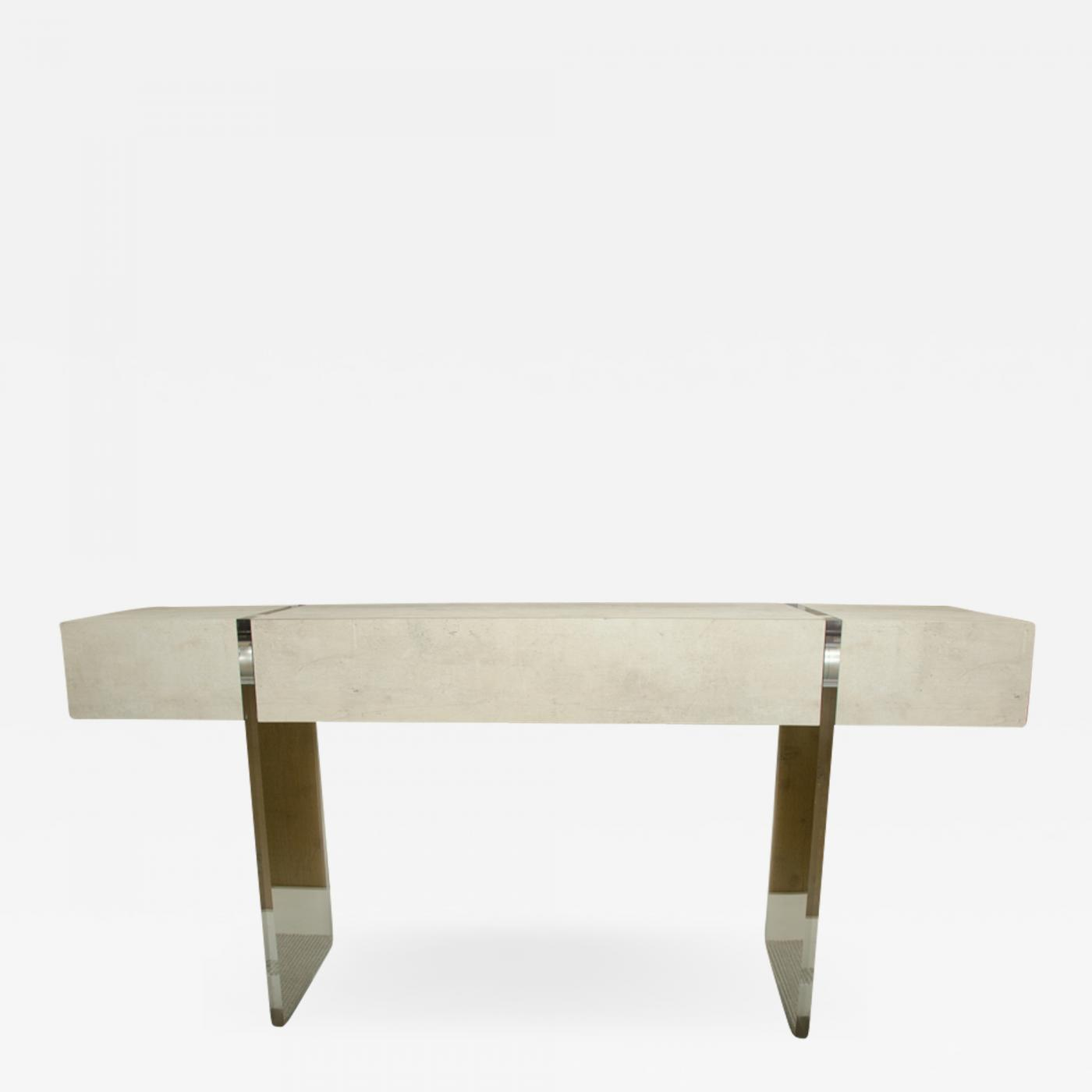Very Attractive Console With Large Center Drawer And Lucite Legs