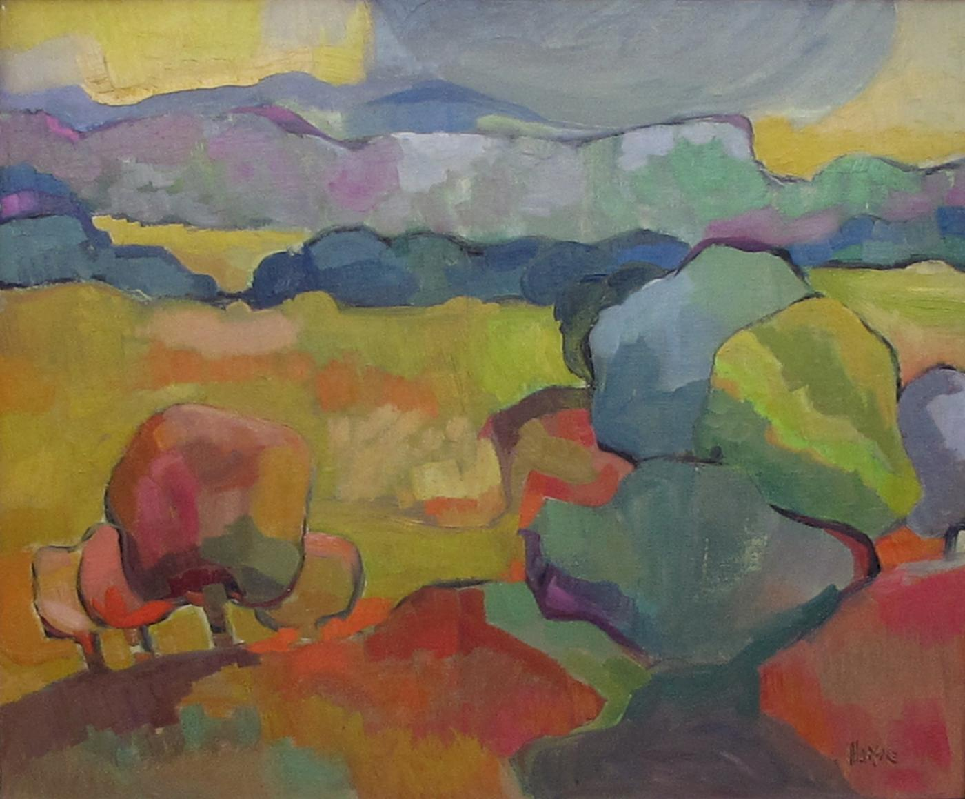 Vibrant American Mid Century Abstract Landscape Painting Signed Marse