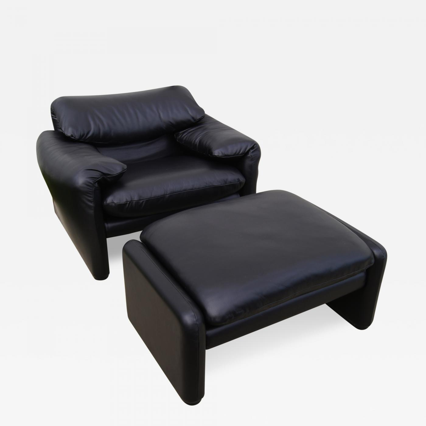 Vico Magistretti Leather Maralunga Lounge Chair & Ottoman by