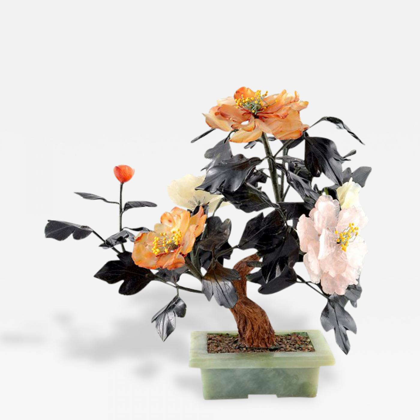 Vintage Chinese Bonsai Jade Tree Planter Semi Precious