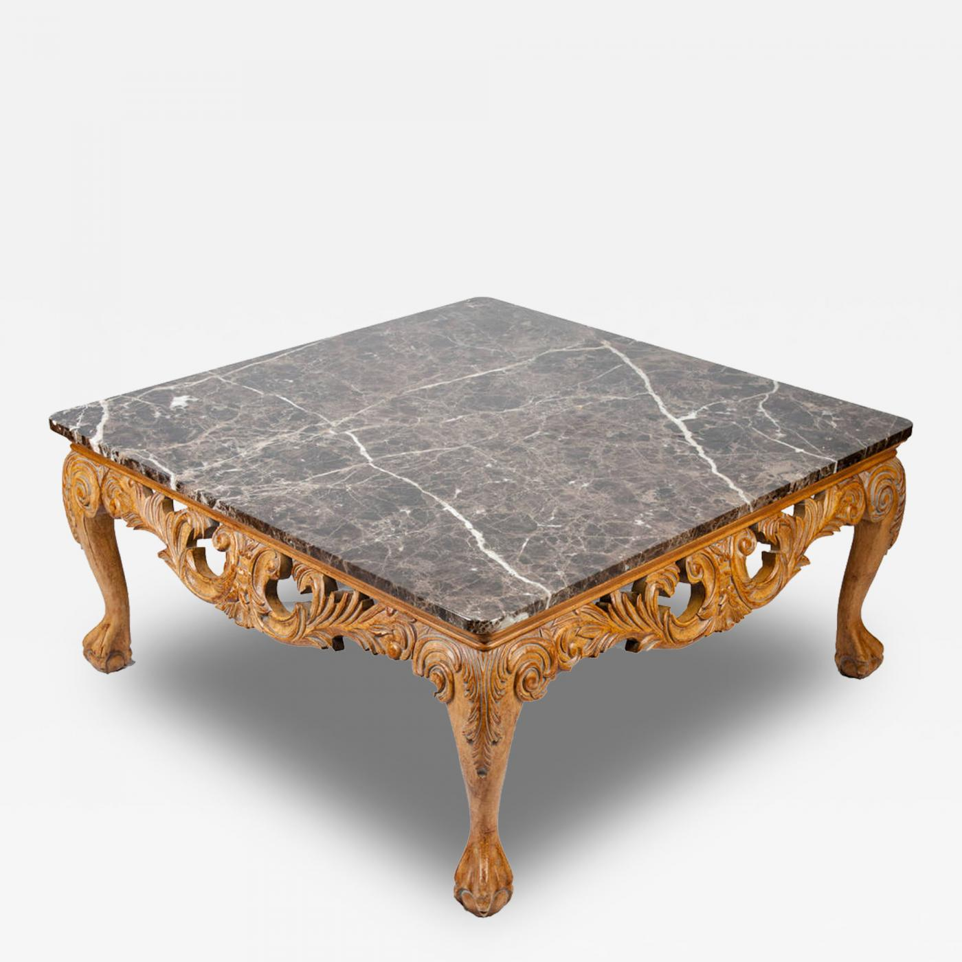 Vintage european marble top coffee table for Stone topped coffee tables