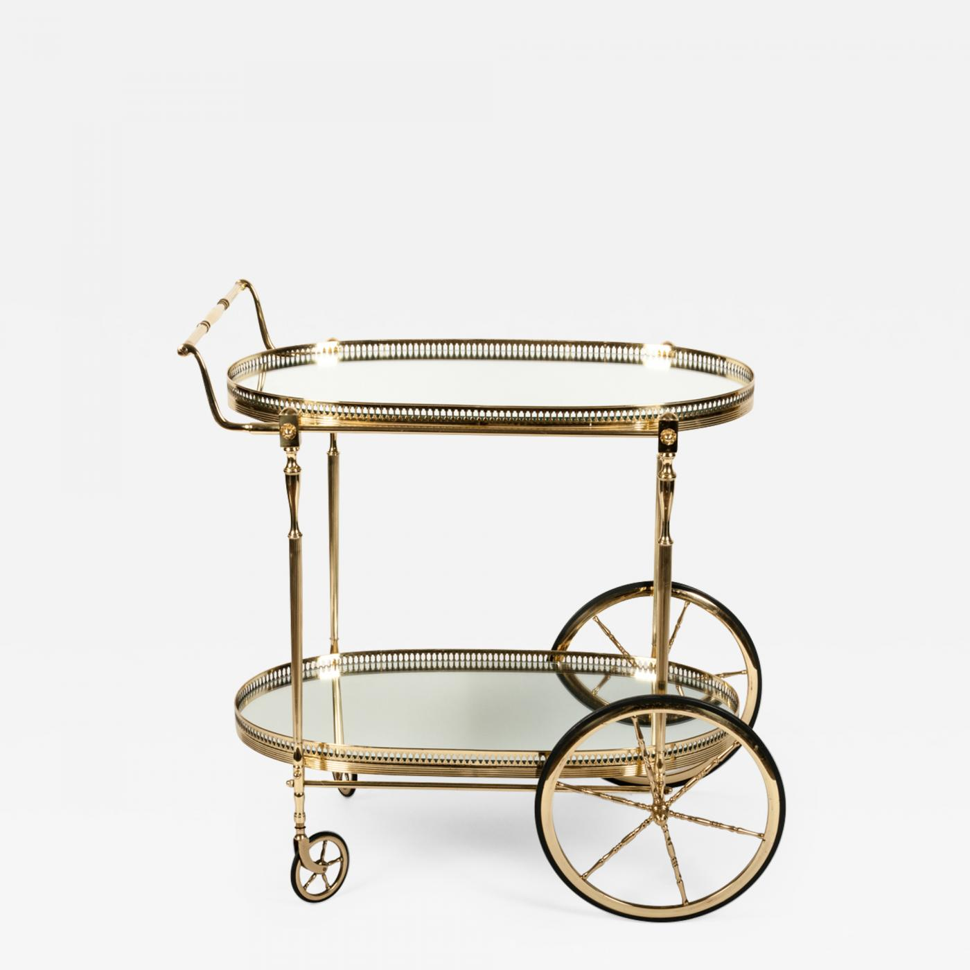 Vintage Bar Cart >> Vintage French Solid Brass Bar Cart