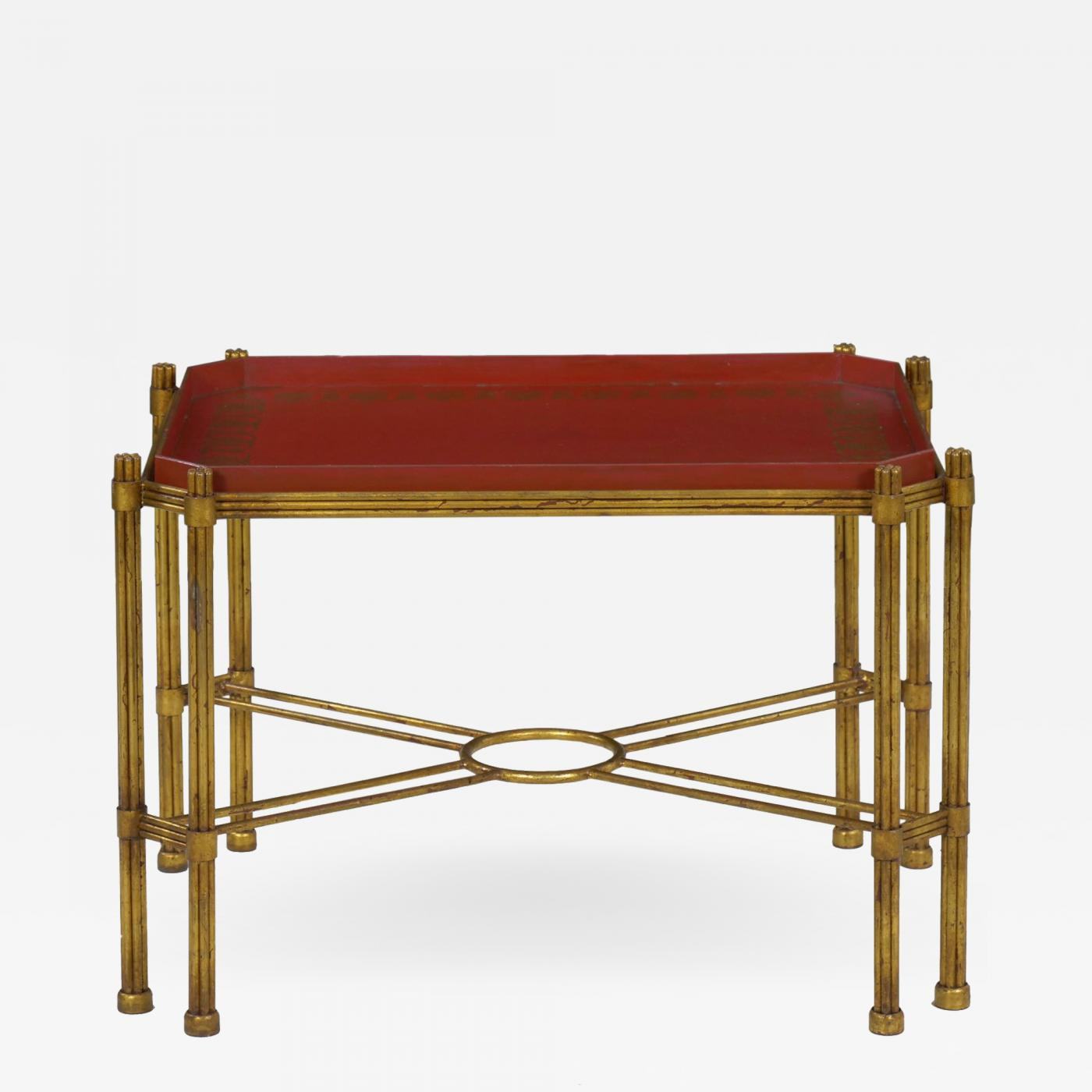 Phenomenal Vintage Gilt Iron Cocktail Table With Red Painted Wooden Tray Bralicious Painted Fabric Chair Ideas Braliciousco