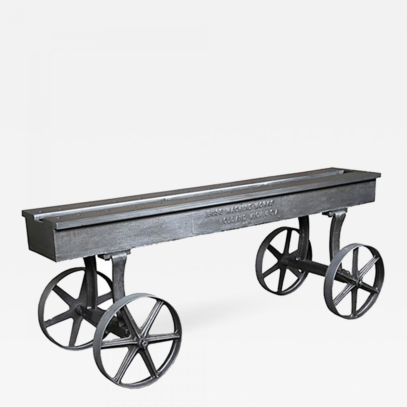 Vintage Industrial Conference Console Dining Table Cart - Vintage industrial conference table