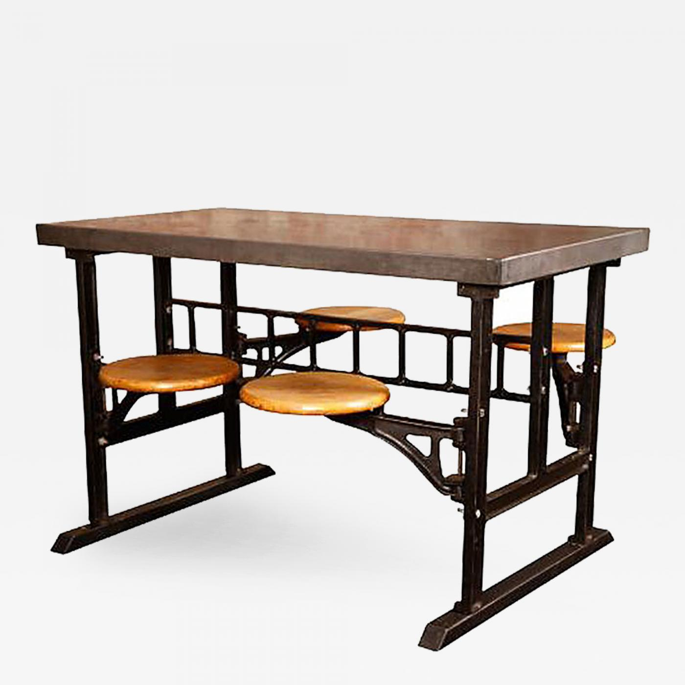Vintage Industrial Modern Swing Out Seat Dining Breakfast Table