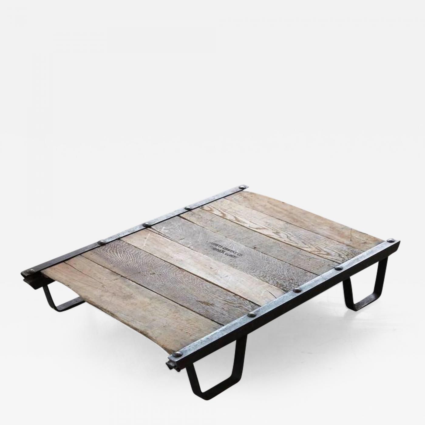 Vintage industrial steel and wood skid platform low for Low coffee table wood