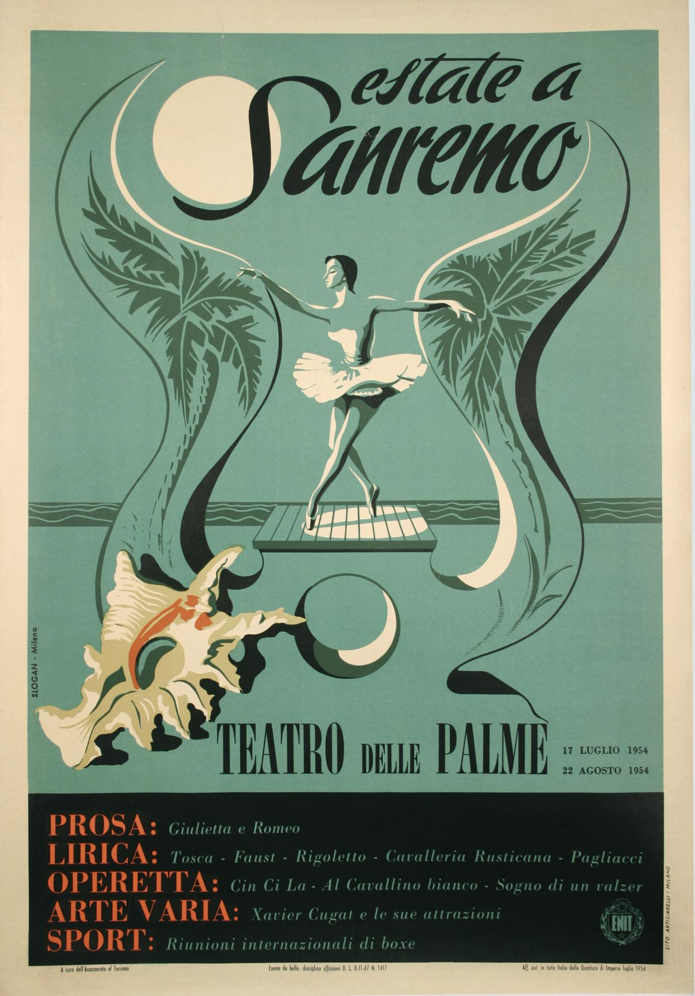 Poster design 20th century - Vintage Italian Mid 20th Century Festival Poster Click On Image To Enlarge