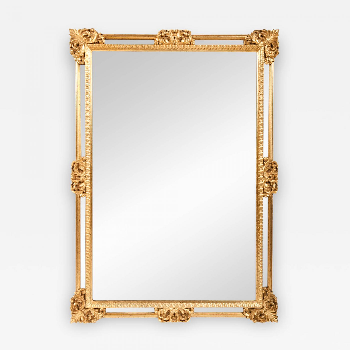 Vintage Ornately Carved Gilded Wood Frame Hanging Wall Mirror
