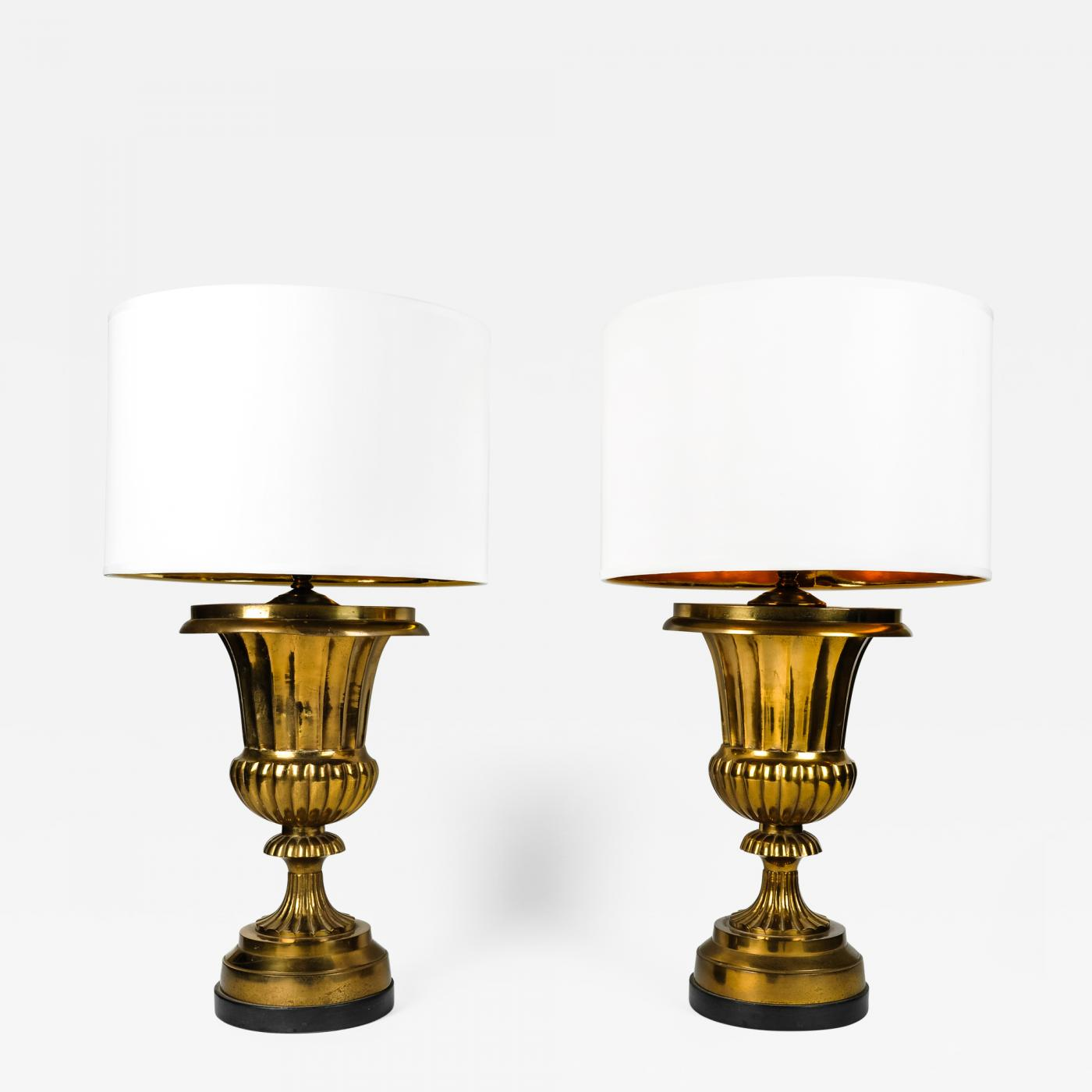Vintage pair solid brass task table lamps vintage pair solid brass task table lamps geotapseo Images