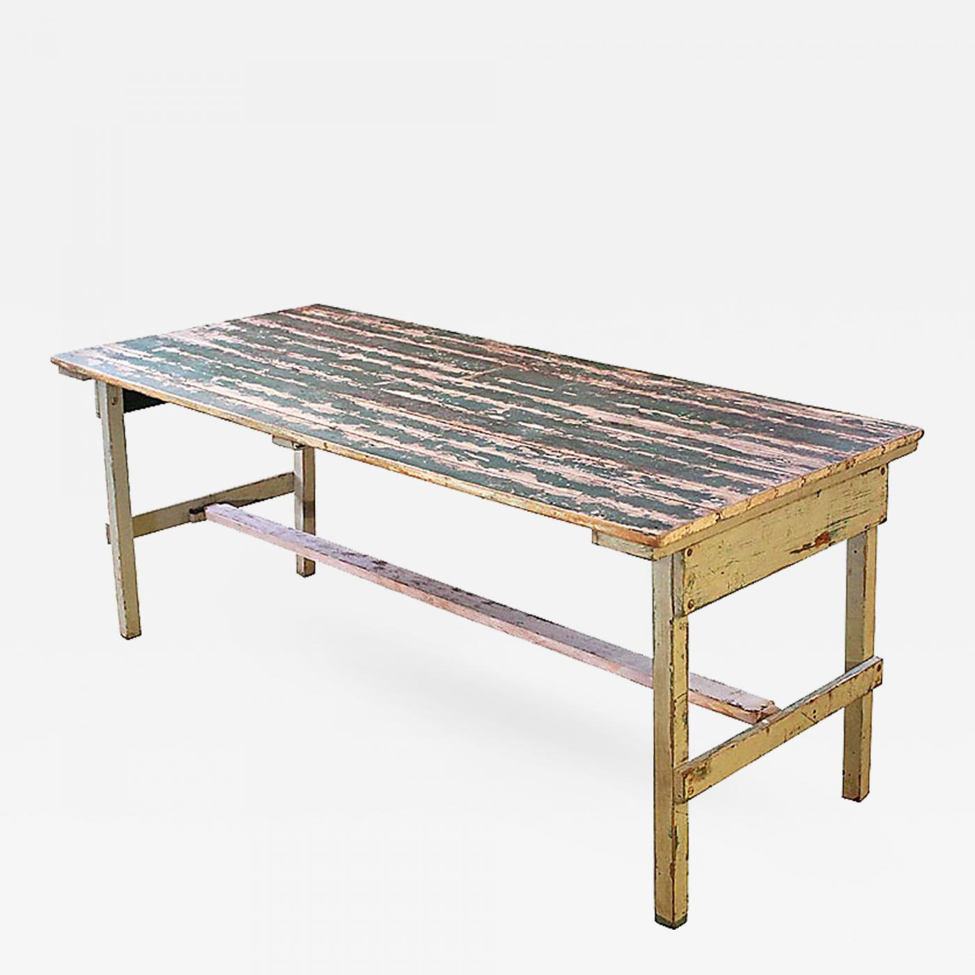 Furniture Dining And Kitchen Tables Farmhouse Industrial: Vintage Rustic Farm Distressed Folding Dining Work Table