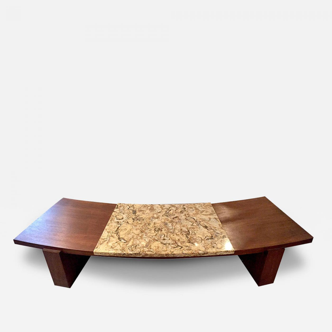 Vladimir Kagan Early Walnut And Marble Curvy Coffee Table - Walnut and marble coffee table