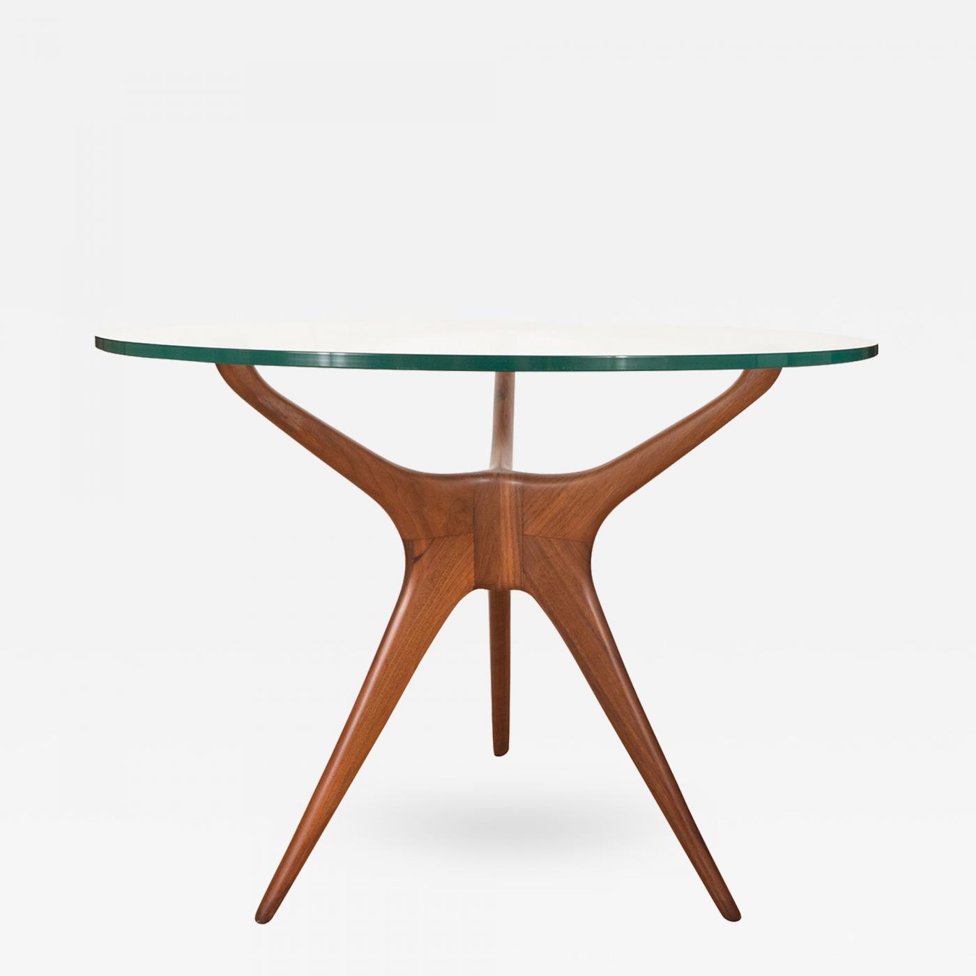 Kagan Coffee Table.Vladimir Kagan Pair Of Sculpted Walnut And Glass Side Tables By Vladimir Kagan