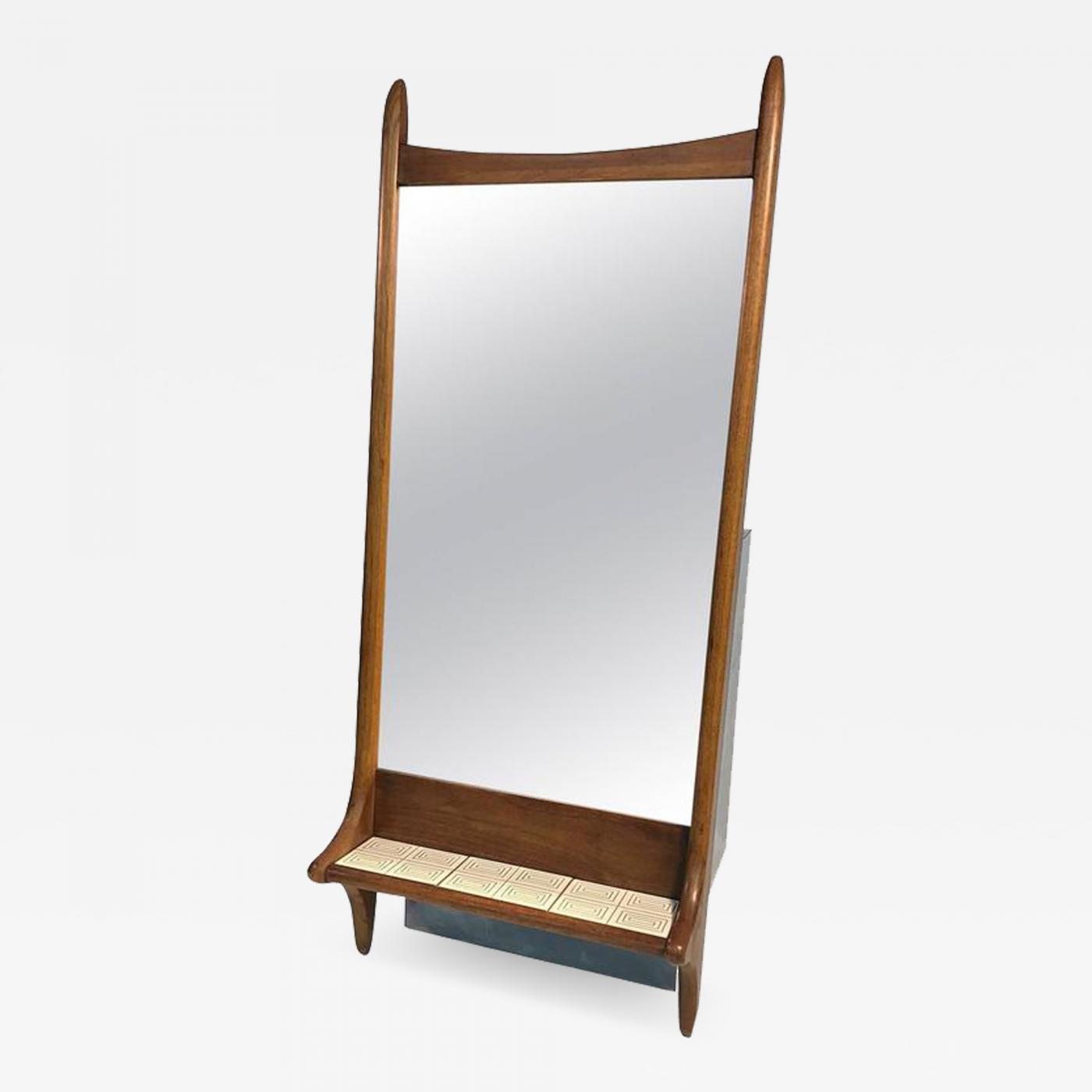 Vladimir Kagan Vladimir Kagan Style Sculptural Mid Century Modern Mirror With Tile Shelf