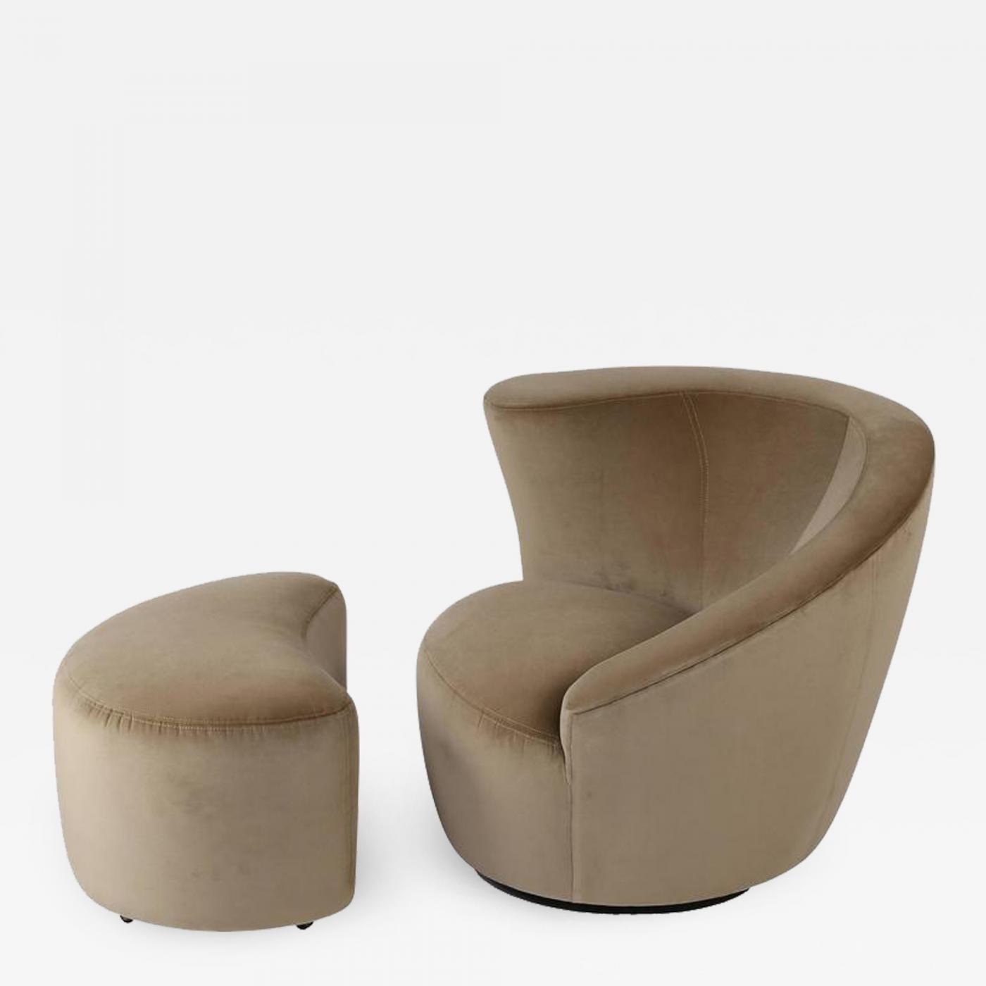 Admirable Vladimir Kagan Vladimir Kagan Corkscrew Swivel Chair And Ottoman In Tan Velvet Circa 1990S Pabps2019 Chair Design Images Pabps2019Com