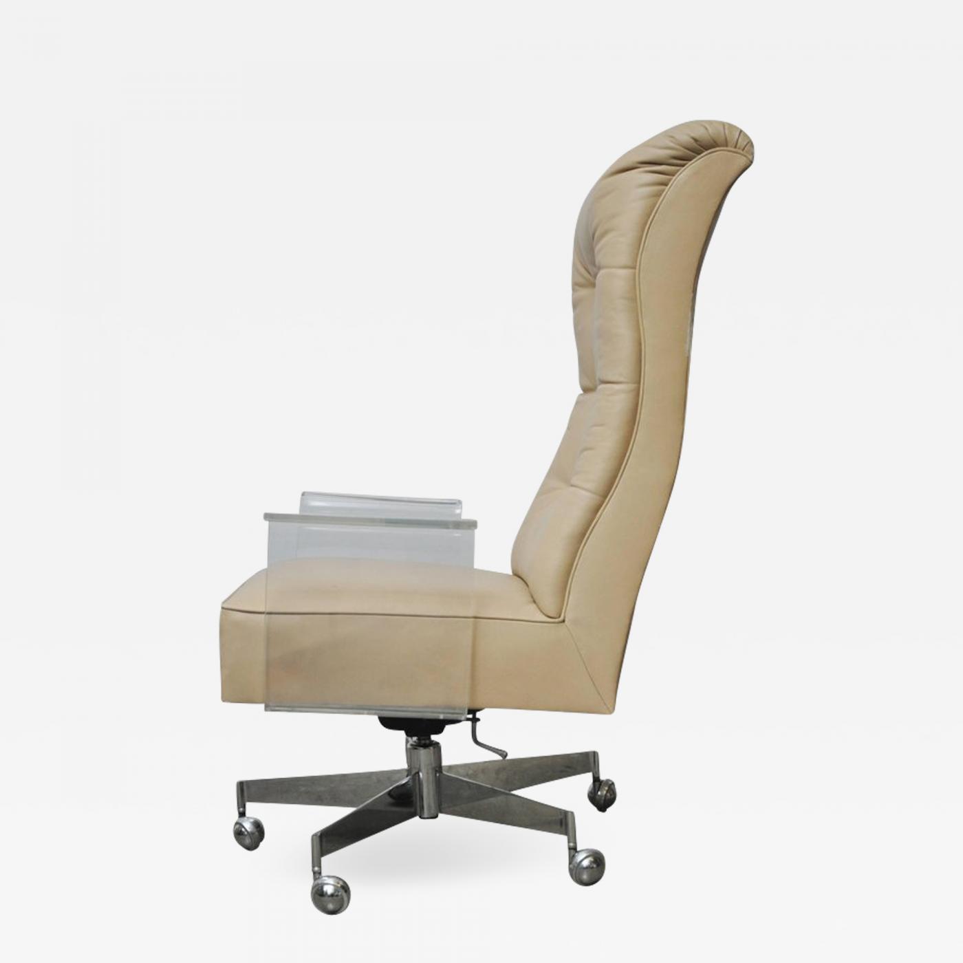 Image of: Vladimir Kagan Vladimir Kagan Leather Desk Chair With Lucite Arms