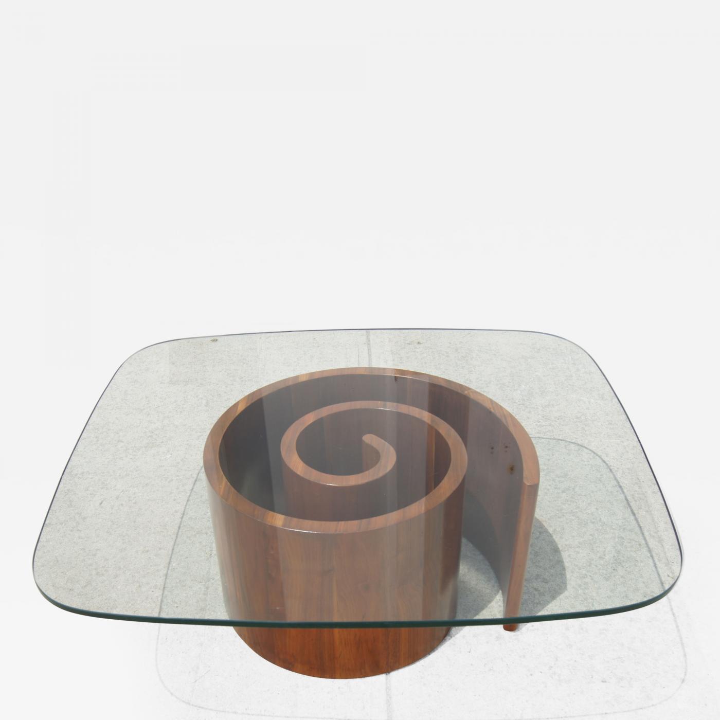 Vladimir Kagan Walnut Glass Snail Coffee Table By Vladimir Kagan