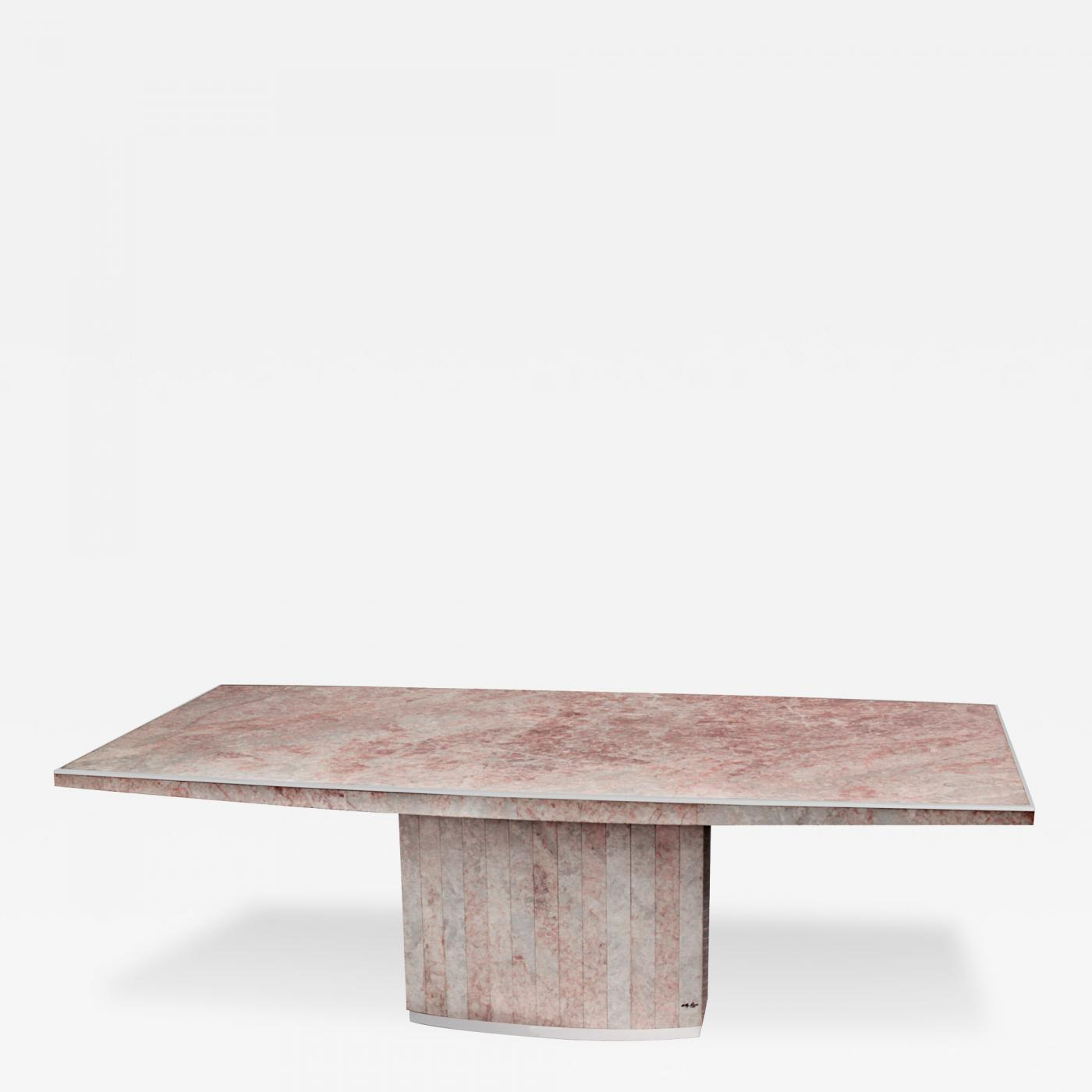 Willy rizzo dining table with marble slab top by willy rizzo for Table willy rizzo