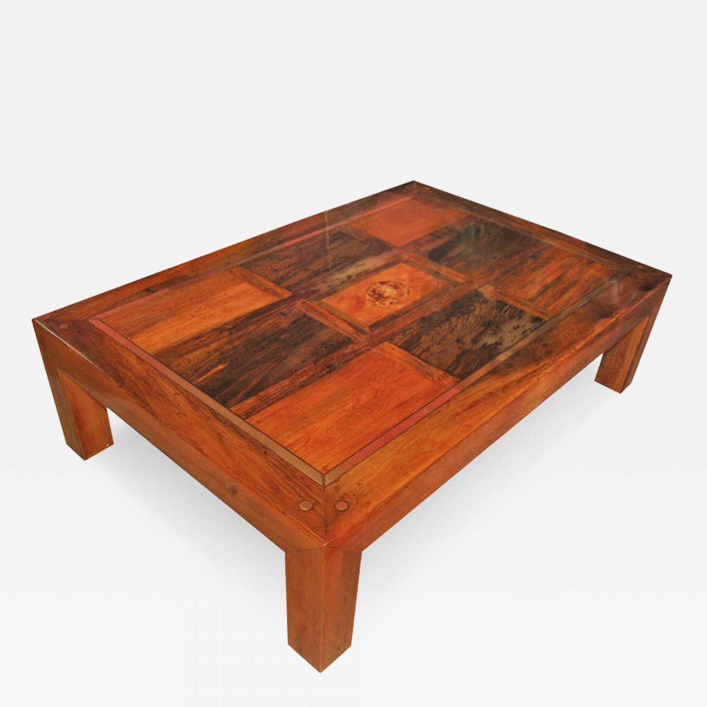 Wood Coffee Table With Brass Inset Accents