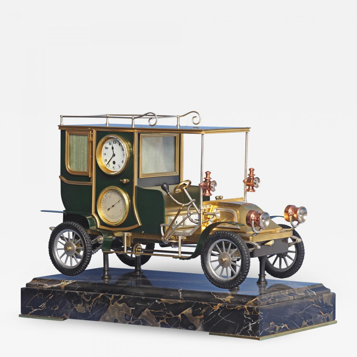 C.1910 Bronze And Variegated Marble Automated Marble Car Clock