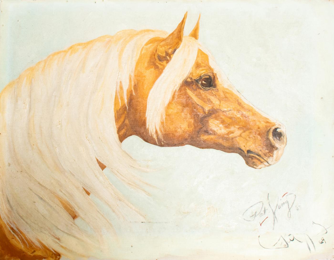 Pat King Handsome Palomino Horse Oil Painting Midcentury Modern Art Signed Pat King 1969