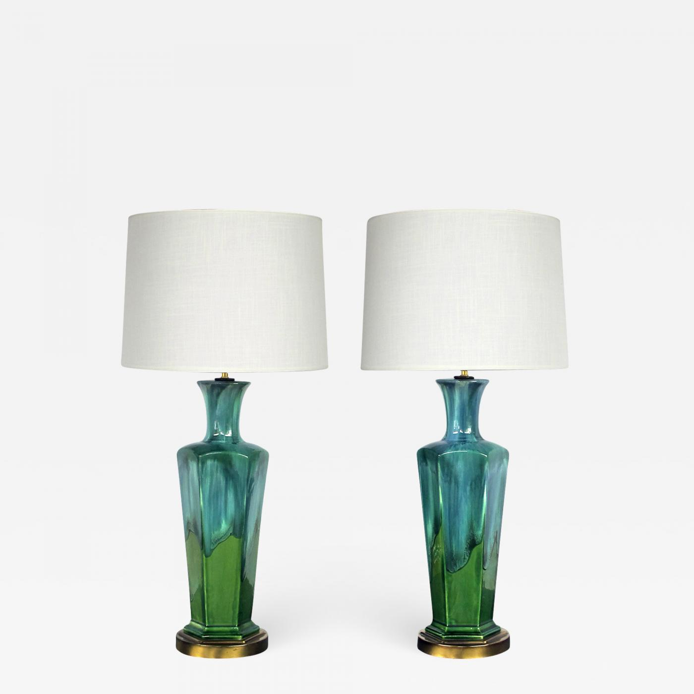 Image of: Stylish Pair Of Mid Century Modern Blue And Green Drip Glaze Hexagonal Lamps